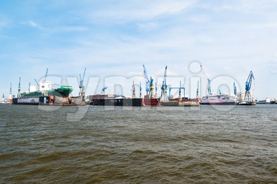 Blohm And Voss Drydocks in Hamburg, Germany Stock Photo