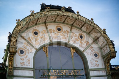 Otto Wagner Pavilion, Karlsplatz Stock Photo