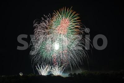 Beautiful colorful fireworks Stock Photo