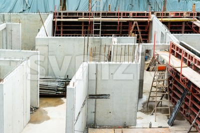 New walls being erected on a construction site Stock Photo