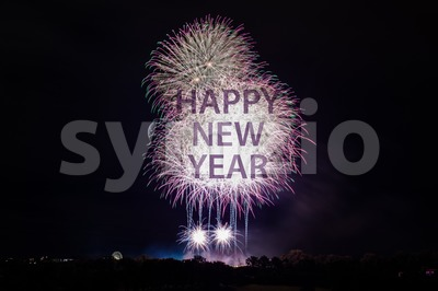 Happy New Year with fireworks Stock Photo