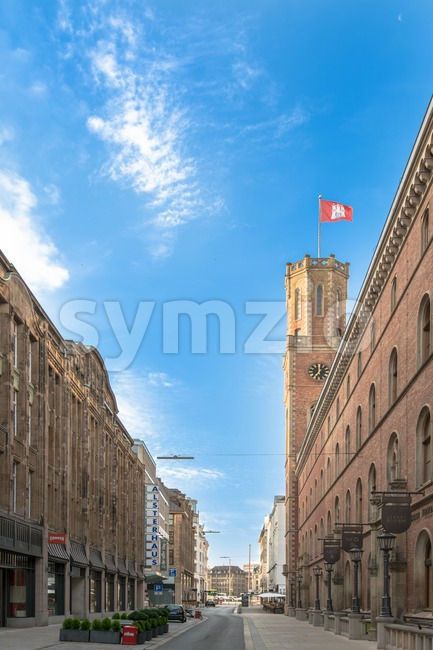 HAMBURG, GERMANY - JULY 20, 2014: Early Sunday morning in the quiet Poststrasse downtown on July 20, 2014 in Hamburg, ...