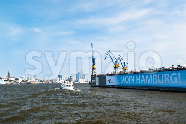 Blohm And Voss Drydock and skyline of Hamburg, Germany Stock Photo