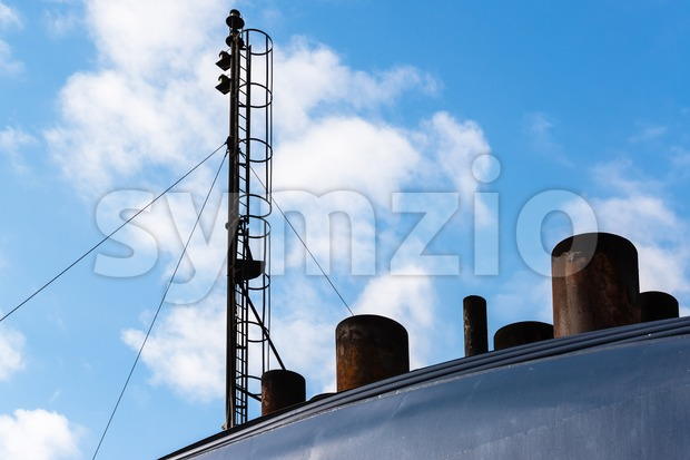 chimneys and antenna of a ferry Stock Photo