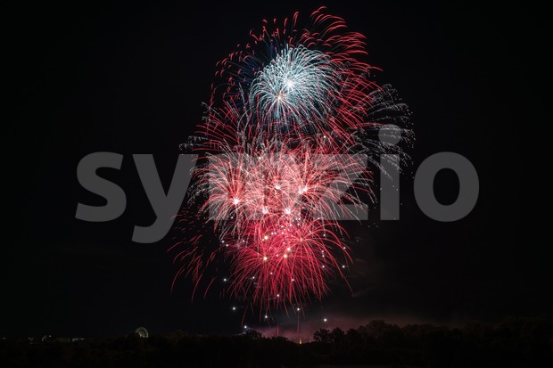 Beautiful colorful fireworks Stock Photo