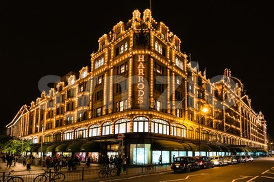 Harrods department store in London at night Stock Photo