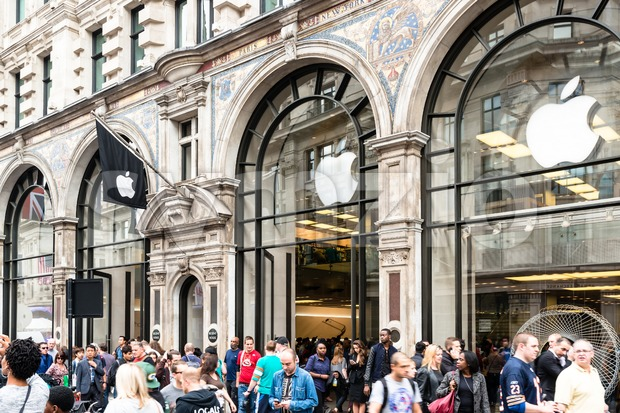 LONDON, UK - SEPTEMBER 27, 2014: Customers are populating the Apple Inc. store in Regent Street in order to admire ...
