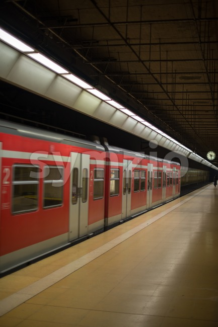 Subway train at platform Stock Photo