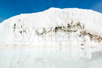 Travertine pool in Pamukkale, Turkey Stock Photo