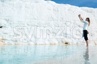 Selfie in a travertine pool in Pamukkale, Turkey Stock Photo