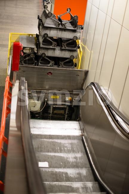 Escalator construction works Stock Photo