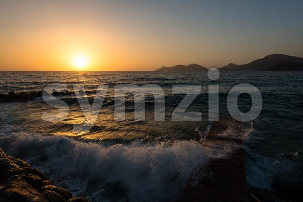 Sundown at the beach Stock Photo