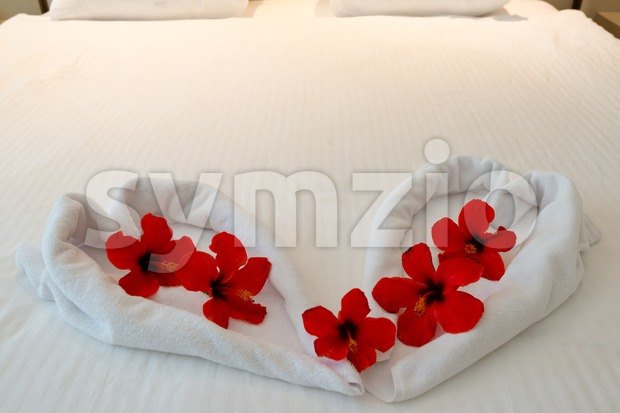 heart made from towels on honeymoon bed Stock Photo