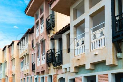 Colorful Mediterranean Facades Stock Photo