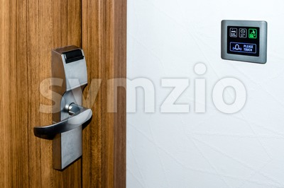 Electronic Hotel  Doorplate Stock Photo