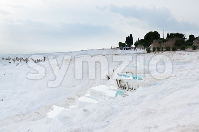 Travertine pools in Pamukkale, Turkey Stock Photo