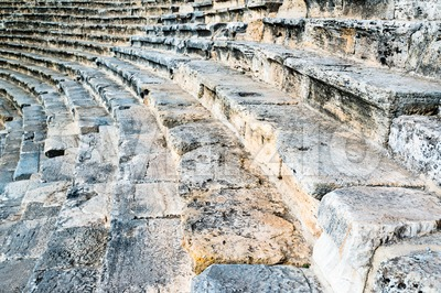 Steps of an ancient amphi theatre Stock Photo