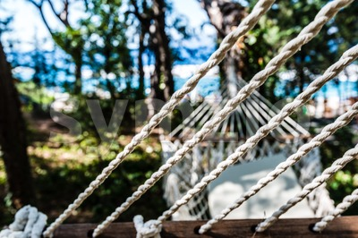 Abstract : Empty hammock at the beach Stock Photo