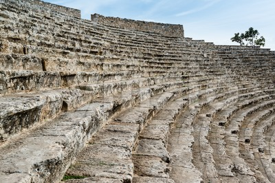 Steps of the ancient amphi theatre at Pamukkale, Turkey Stock Photo