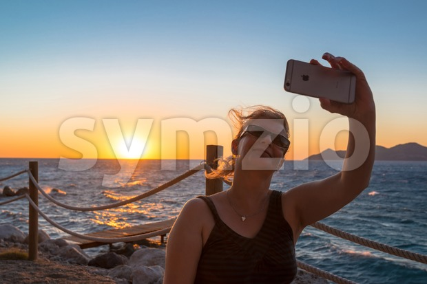 Selfie in sunset Stock Photo