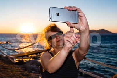 Selfie in sunset Stock Photo