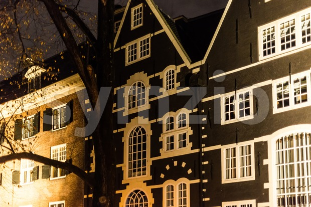 Traditional Dutch Architecture , Houses at night in Amsterdam, Netherlands.