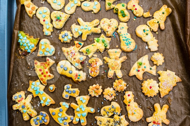 childrens christmas cookies on a tray Stock Photo