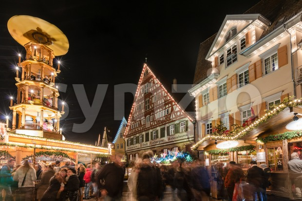 ESSLINGEN, GERMANY - DECEMBER 11, 2014: People are visiting the Christmas Market at night on December 11, 2014 in Esslingen, ...