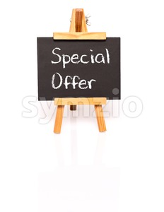 Special Offer. Blackboard with text and easel. Stock Photo
