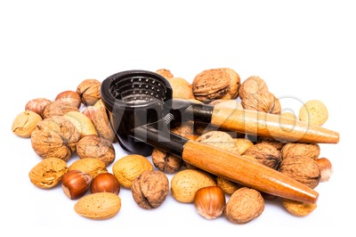 nuts and nutcracker Stock Photo
