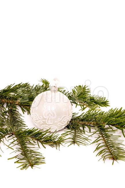 Christmas ball and fir branch for your text Stock Photo