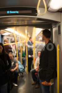 People commuting Vienna metro Stock Photo