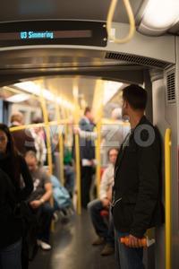 People commuting Vienna metro Stock Photo