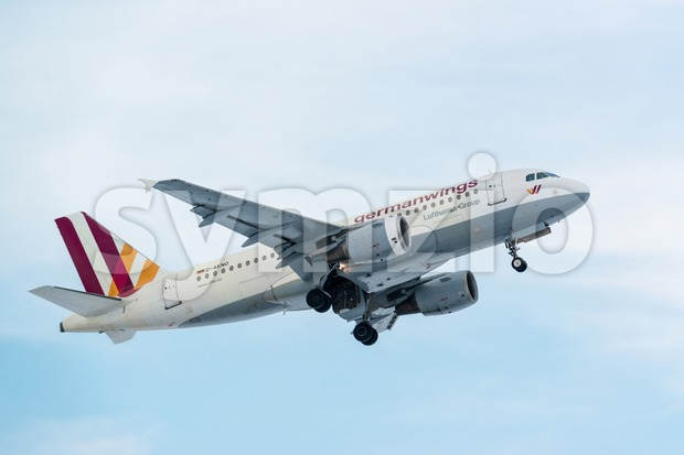 Airplane taking off on a cold winter day in Stuttgart, Germany Stock Photo