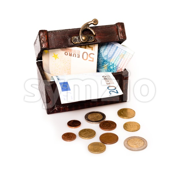 Treasure Chest Europe: Old wooden chest with European currency isolated on white background