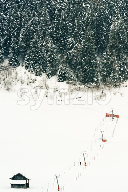 Platter ski lift at beginners piste Stock Photo