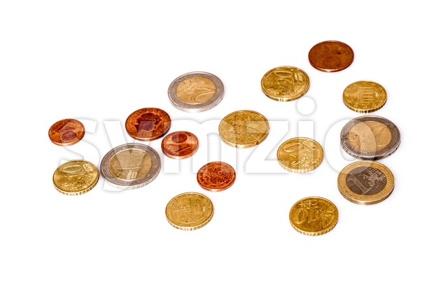Euros coins with shadow and reflection on white background