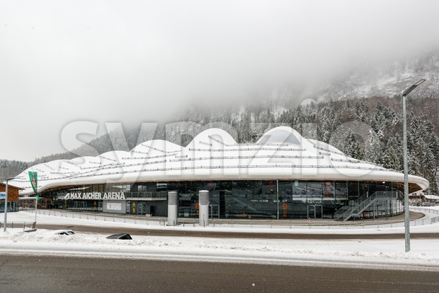 INZELL, GERMANY - JANUARY 24, 2015: The Max Aicher Arena in Inzell, a large artificial ice stadium featuring a 400 ...