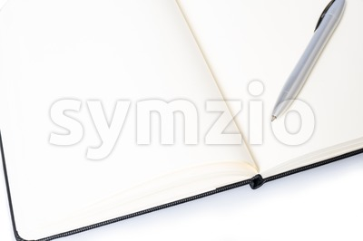 Open notebook with pen and space for your text Stock Photo