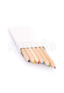 Various color pencils in box on white background Stock Photo