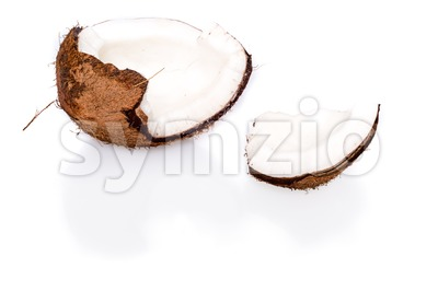 Fresh coconut on white background Stock Photo