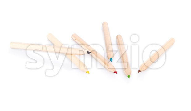 Various color pencils on white background Stock Photo