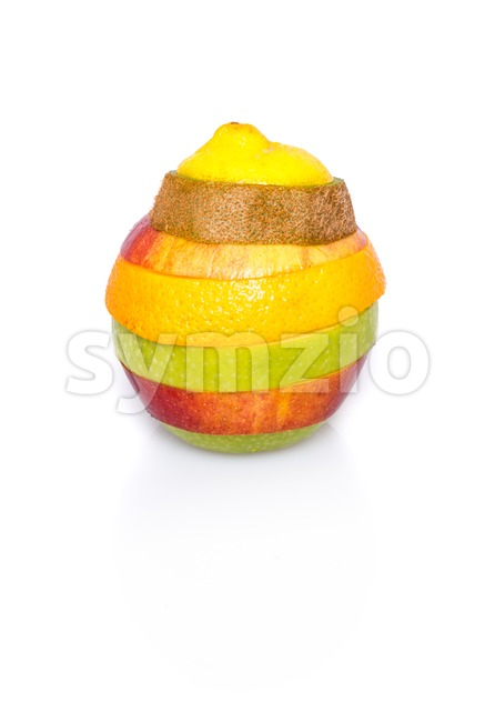 Mixed fruit on white Stock Photo