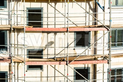 Construction of new house with scaffolding Stock Photo