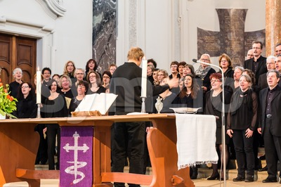 Church choir during worship service Stock Photo