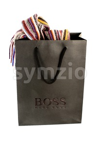 Hugo Boss Black Shopping Bag With Contents On White Stock Photo