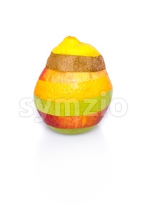 Mixed fruit on white - perfect shape, no cuts visible Stock Photo