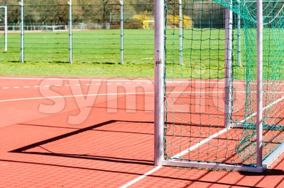 Empty outdoor handball goal Stock Photo