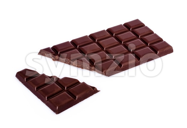 chocolate bar with broken bit Stock Photo