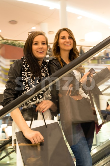 Two attractive girls shopping Stock Photo